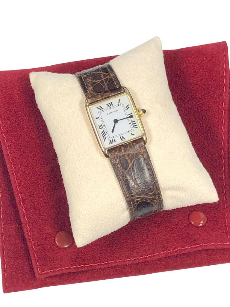 Cartier Paris Yellow Gold Mechanical Classic 1970s Tank Wristwatch For Sale 1