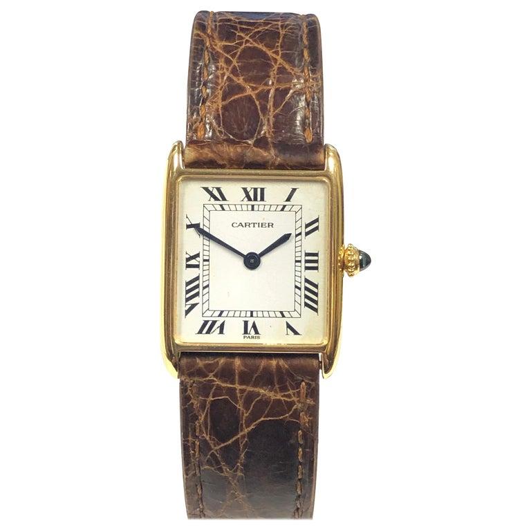 Cartier Paris Yellow Gold Mechanical Classic 1970s Tank Wristwatch For Sale