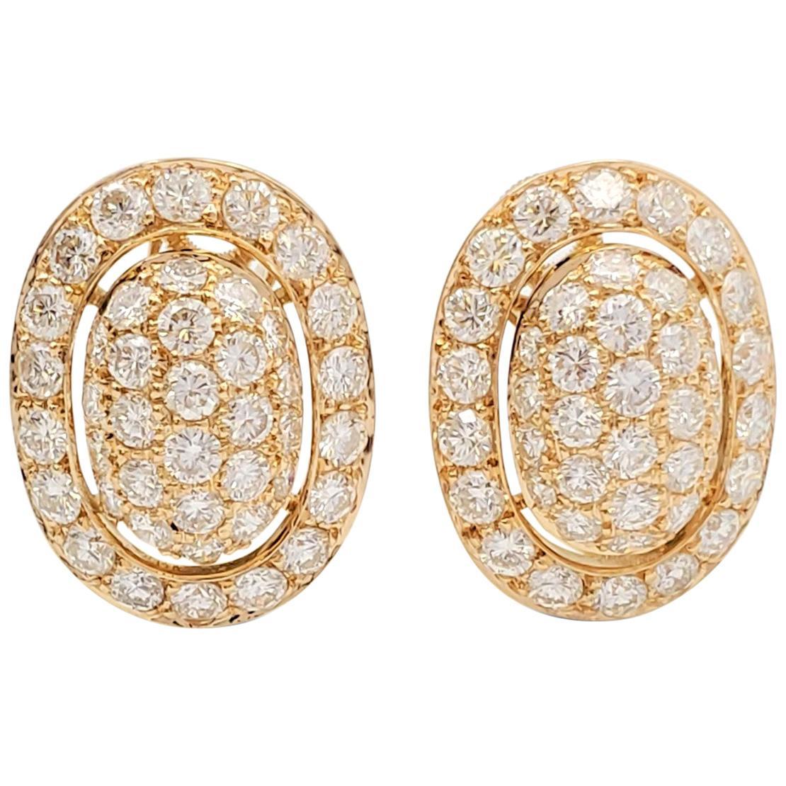 Cartier Paris Yellow Gold Pavé Diamond Earrings
