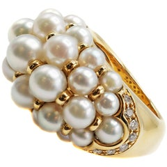 Cartier Paris Yellow Gold Pearl Andromaque Ring