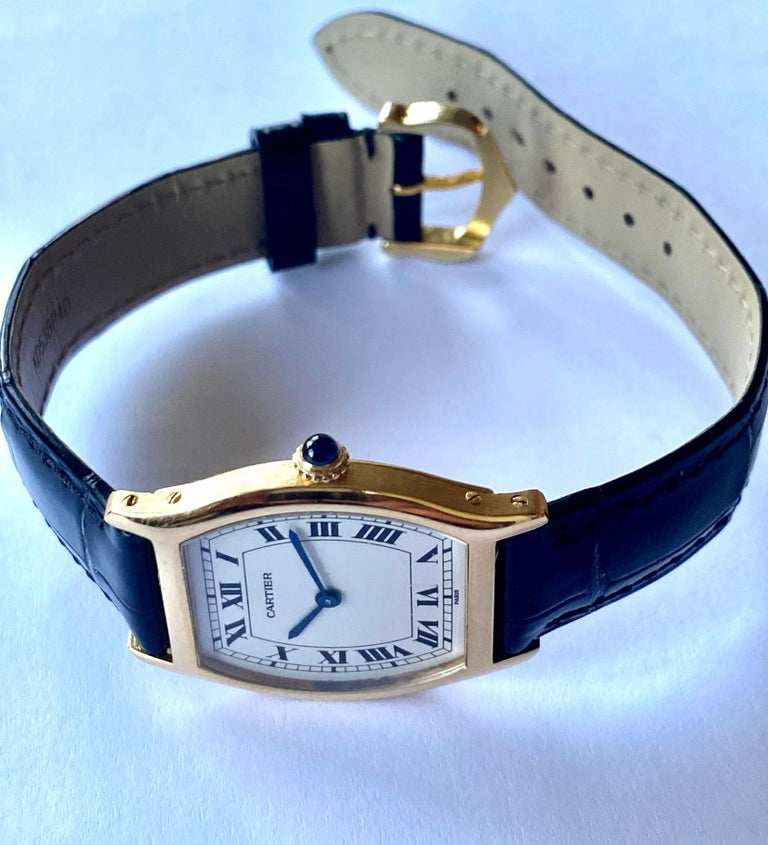 Cartier Paris Yellow Gold Watch, Model: TORTUE, Handwinding 1975 Model Nr 96069 For Sale 1
