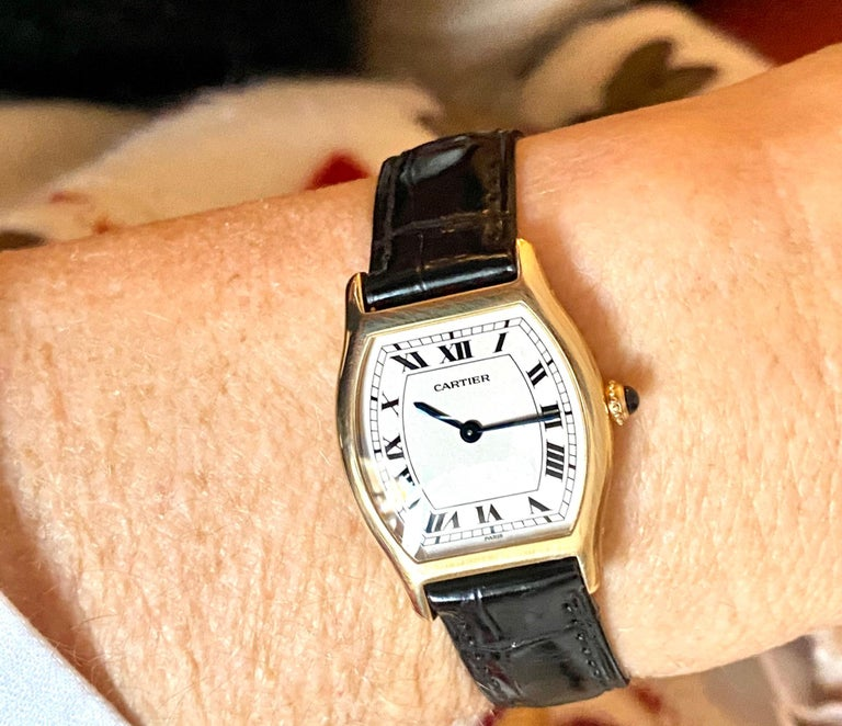 Cartier Paris Yellow Gold Watch, Model: TORTUE, Handwinding 1975 Model Nr 96069 For Sale 3