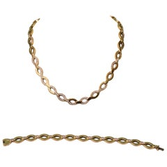 Cartier Parure Bracelet and Necklace Yellow 18K Gold and Diamonds 2.40 CT