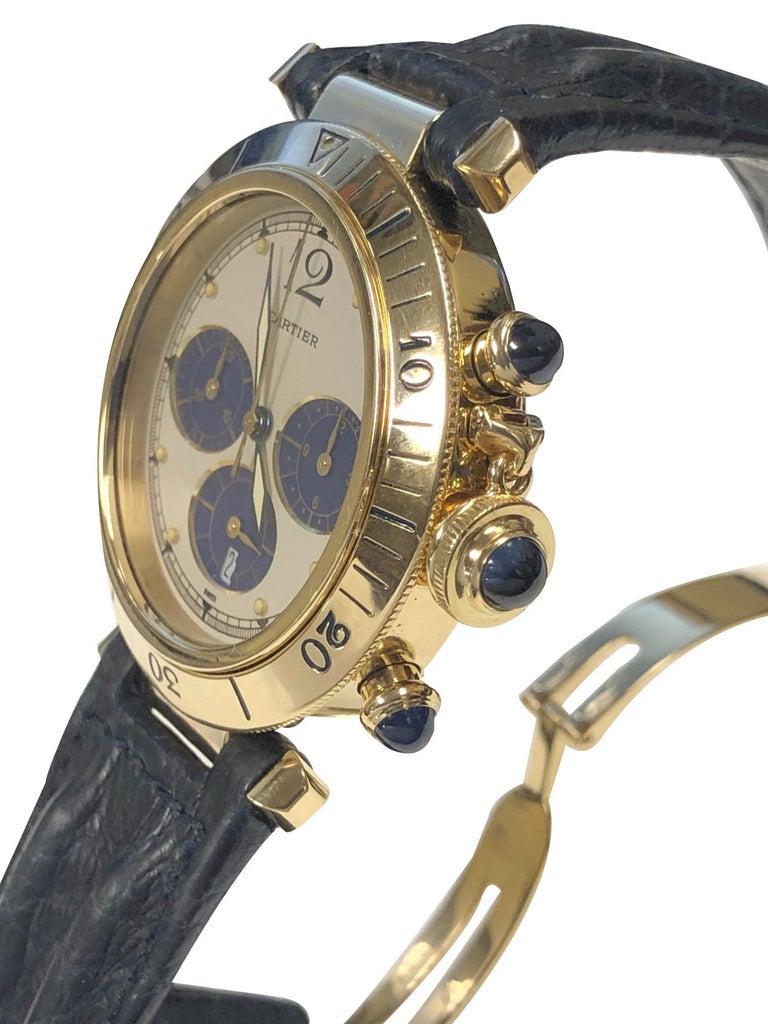 Cartier Pash De Cartier Yellow Gold Chronograph quartz Wristwatch In Excellent Condition In Chicago, IL