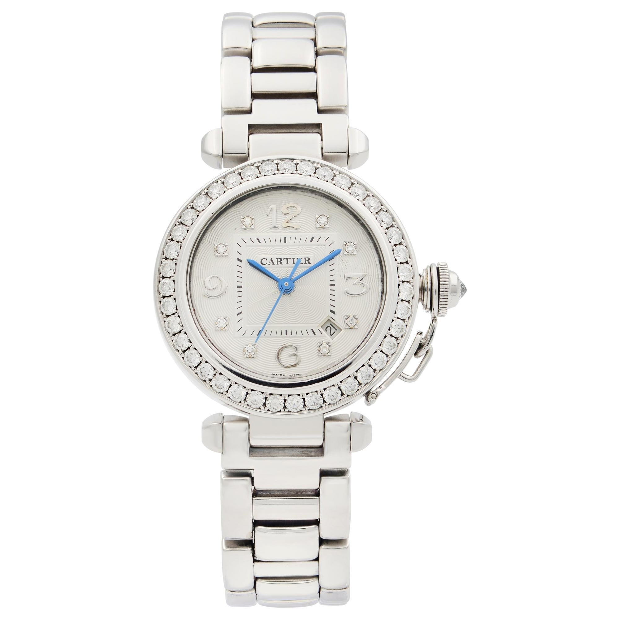 Cartier Pasha 18 Karat White Gold Diamond Watch Automatic Ladies Watch 2398