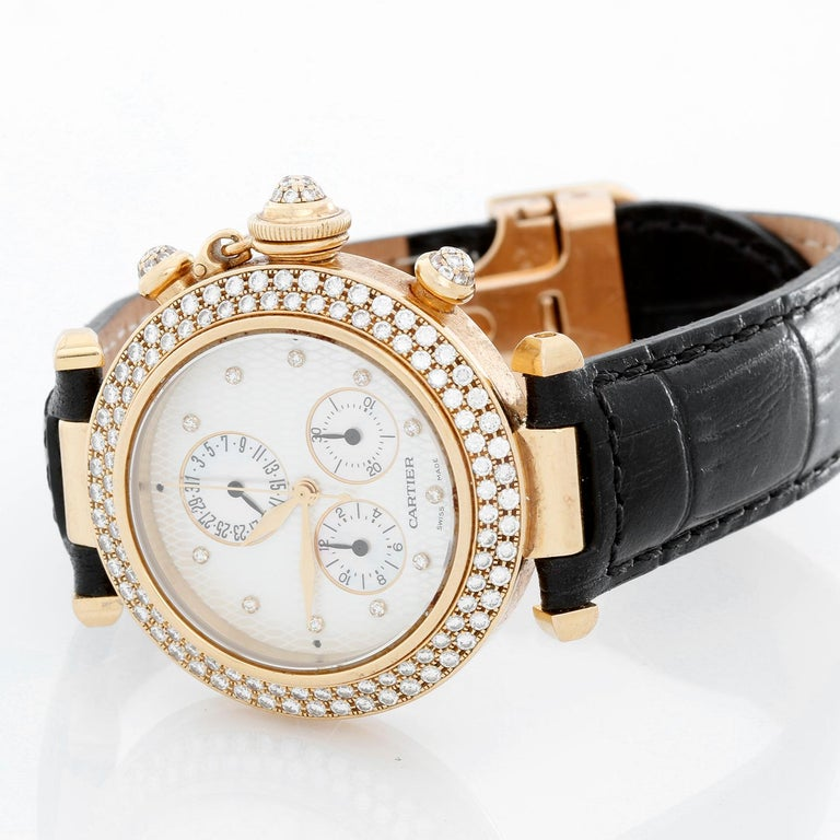 Women's or Men's Cartier Pasha 18 Karat Yellow Gold and Diamond Ladies Watch on Black Strap Band For Sale