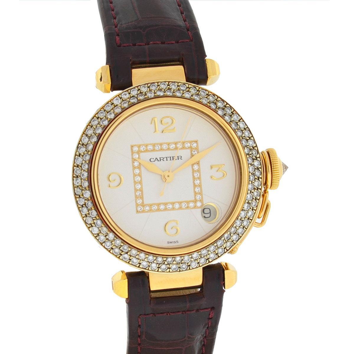 Cartier Pasha 18 Karat Yellow Gold Factory Dial Diamond Bezel Watch