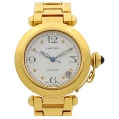Cartier Pasha 18 Karat Yellow Gold White Dial Automatic Ladies Watch WJ1110H9