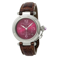 Cartier Pasha 2324 Unisex Automatic Watch Maroon Dial Stainless Steel
