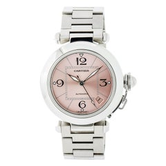 Cartier Pasha 2324 With 7 in. Band, Stainless-Steel Bezel & Pink Dial