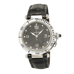 Cartier Pasha 2379 38Mm Men'S Automatic Watch Black Dial Stainless Leather Band