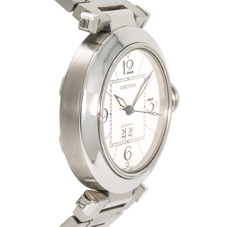 Cartier Pasha 2475 W31055M7 Women's Automatic Watch White Dial Stainless In Excellent Condition For Sale In Miami, FL
