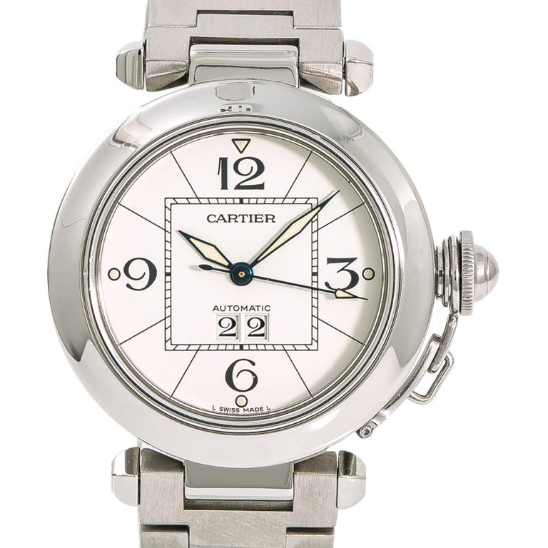 Cartier Pasha 2475 W31055M7 Women's Automatic Watch White Dial Stainless For Sale