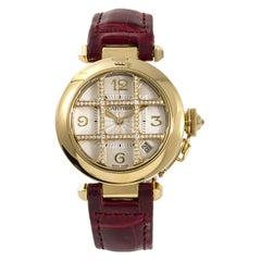 Cartier Pasha 2507 Women's Automatic Watch 1 Carat Factory Diamond 18 Karat YG