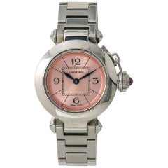 Cartier Pasha 2973 W3140008 Women's Quartz Watch Salmon Dial SS