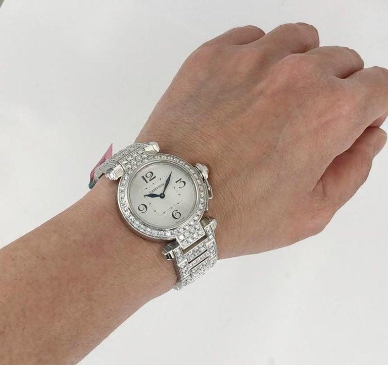 Round Cut Cartier Pasha Diamond Watch For Sale