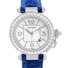 Cartier Pasha 32 18 Karat White Gold Blue Strap Diamond Ladies Watch