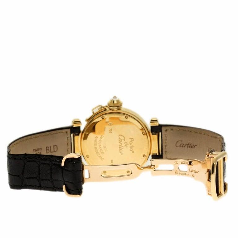 Contemporary Cartier Pasha WJ11891G Yellow Gold Silver Diamond Box/Paper/Warranty #310-6