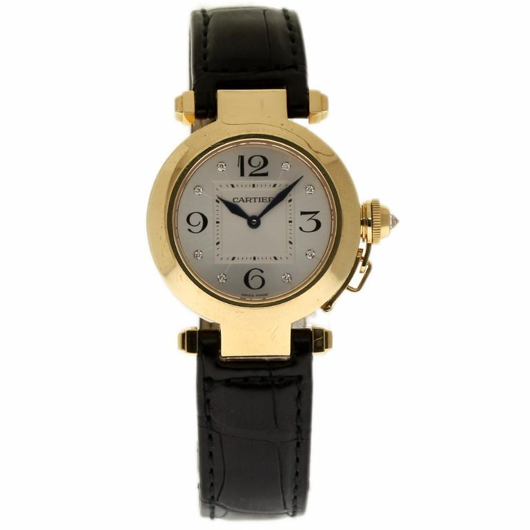 Cartier Pasha WJ11891G Yellow Gold Silver Diamond Box/Paper/Warranty #310-6 In Excellent Condition In Miami, FL