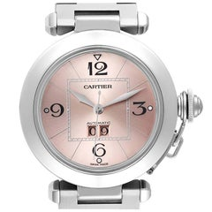 Cartier Pasha Big Date Pink Dial Steel Ladies Watch W31058M7 Box Papers