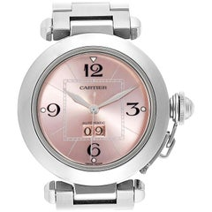Cartier Pasha Big Date Pink Dial Steel Ladies Watch W31058M7