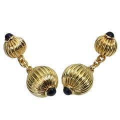 Cartier Pasha Blue Sapphire Yellow Gold Cufflinks