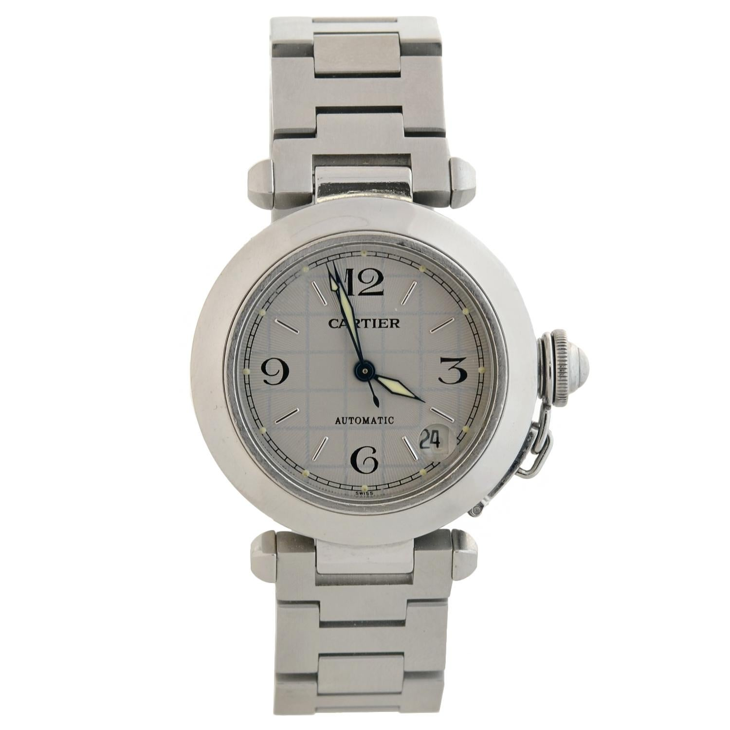 01c60be1a1c5b Cartier Pasha C 2324 Stainless Steel Watch in Box For Sale at 1stdibs