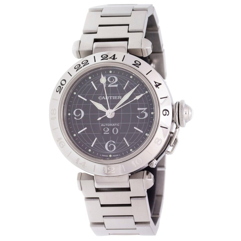ebd49f8e05f3c Cartier Pasha C GMT W31049M7 For Sale. Stainless steel ...