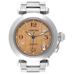 Cartier Pasha C Men's Steel Salmon Grid Dial Men's Watch W31024M7