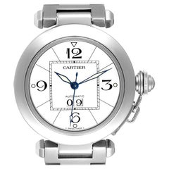 Cartier Pasha C Midsize Big Date Steel Watch White Dial W31055M7 Box Papers