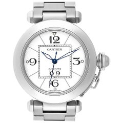 Cartier Pasha C Midsize Big Date Steel Watch White Dial W31055M7