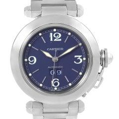 Cartier Pasha C Midsize Steel Blue Dial Big Date Watch W31047M7