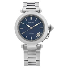 Cartier Pasha C Stainless Steel Blue Dial Automatic Mens Watch W31014M7