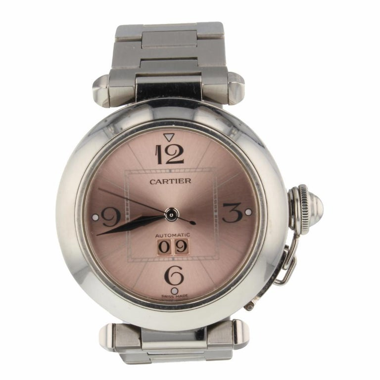 2f4c6bf4a8c5 Cartier Pasha C Steel Automatic Pink Salmon Dial Ladies Watch W31075M7 For  Sale at 1stdibs