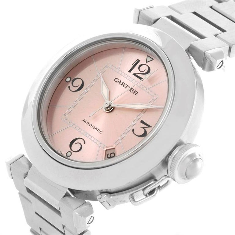 1d42419debca Cartier Pasha C Steel Pink Dial Ladies Watch W31075M7. Automatic  self-winding movement.