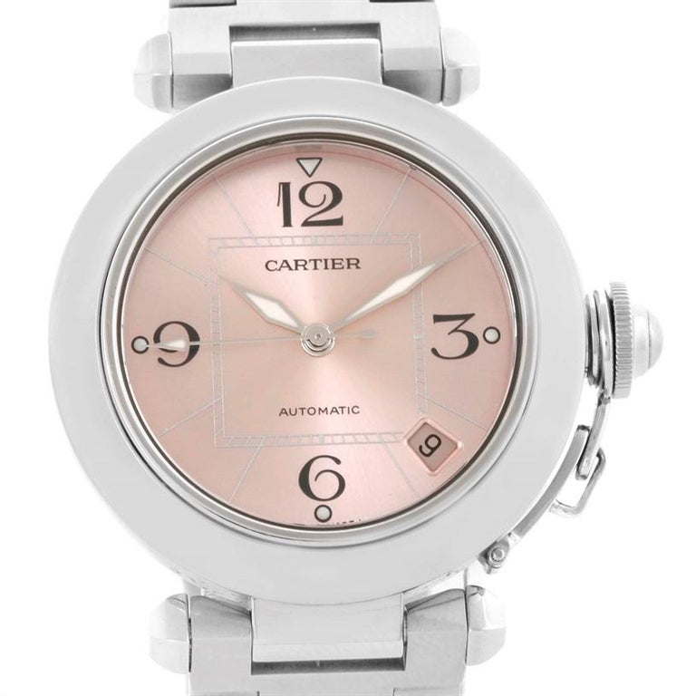 9d405f7ef92b Cartier Pasha C Steel Pink Dial Ladies Watch W31075M7 In Excellent  Condition For Sale In Atlanta