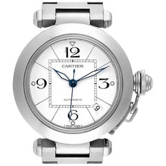 Cartier Pasha C White Dial Steel Unisex Watch W31074M7 Box Papers