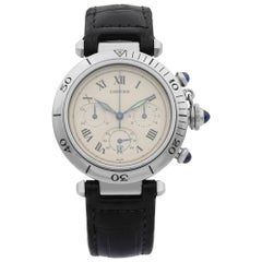 Cartier Pasha Chronograph Stainless Steel Silver Dial Quartz Men's Watch 1050