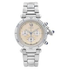 Cartier Pasha Chronograph Steel Beige Dial Quartz Mens Watch 1050-1