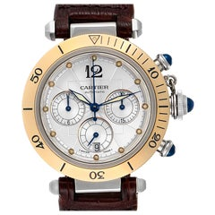 Cartier Pasha Chronograph Steel Yellow Gold Men's Watch W3014051
