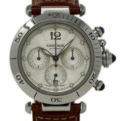 Cartier Pasha Chronograph W31030H3 Stainless Steel Leather 2 Year Warranty