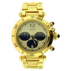Cartier Pasha de Cartier 30009 Yellow Gold Blue Chronograph Dial Watch