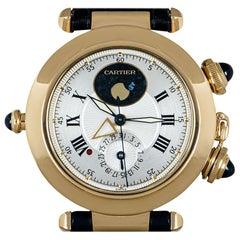 Cartier Pasha de Cartier Alarm Moonphase Gents 18 Karat Gold Silver Dial 30011