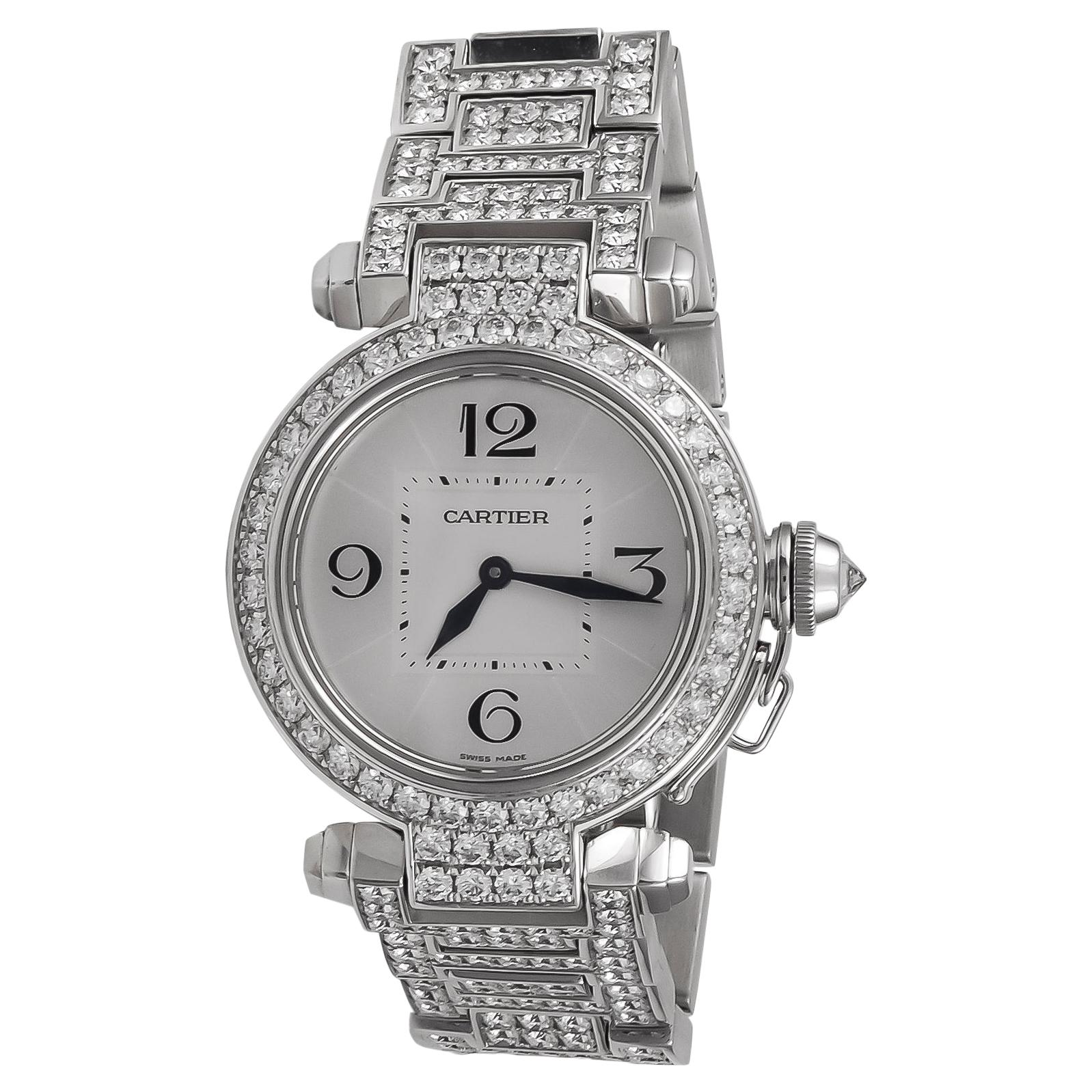 Cartier Ladies Diamond White Gold Pasha Wristwatch
