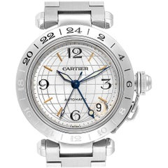 Cartier Pasha GMT Silver Dial Steel Men's Watch W31078M7
