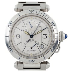 Cartier Pasha Men's Stainless Steel Automatic GMT Watch with Power Reserve 2388