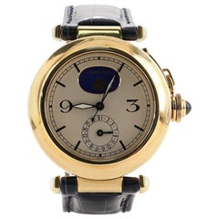 Cartier Pasha Moonphase Date Quartz Watch Yellow Gold and Crocodile 38
