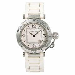 Cartier Pasha Seatimer 3025 W3140001 Women's Quartz Watch Silver Dial SS