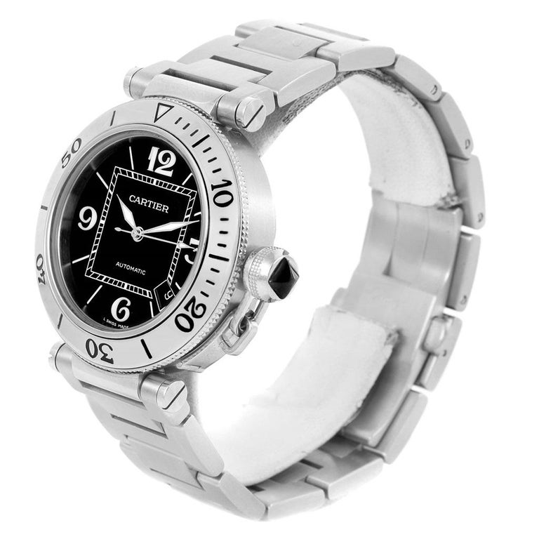 5c337c88d359 Cartier Pasha Seatimer Black Dial Stainless Steel Watch W31077M7 For Sale 2