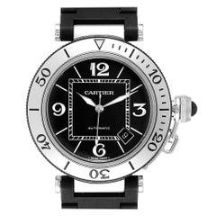 Cartier Pasha Seatimer Black Rubber Strap Steel Men's Watch W31077U2